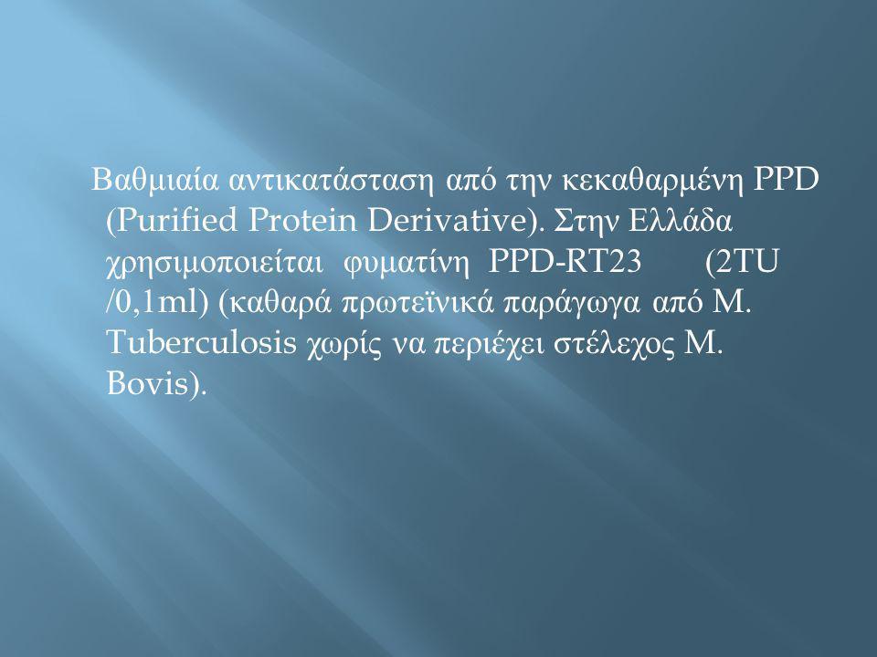 Βαθμιαία αντικατάσταση από την κεκαθαρμένη PPD (Purified Protein Derivative). Στην Ελλάδα χρησιμοποιείται φυματίνη PPD-RT23 (2TU /0,1ml) ( καθαρά πρωτ