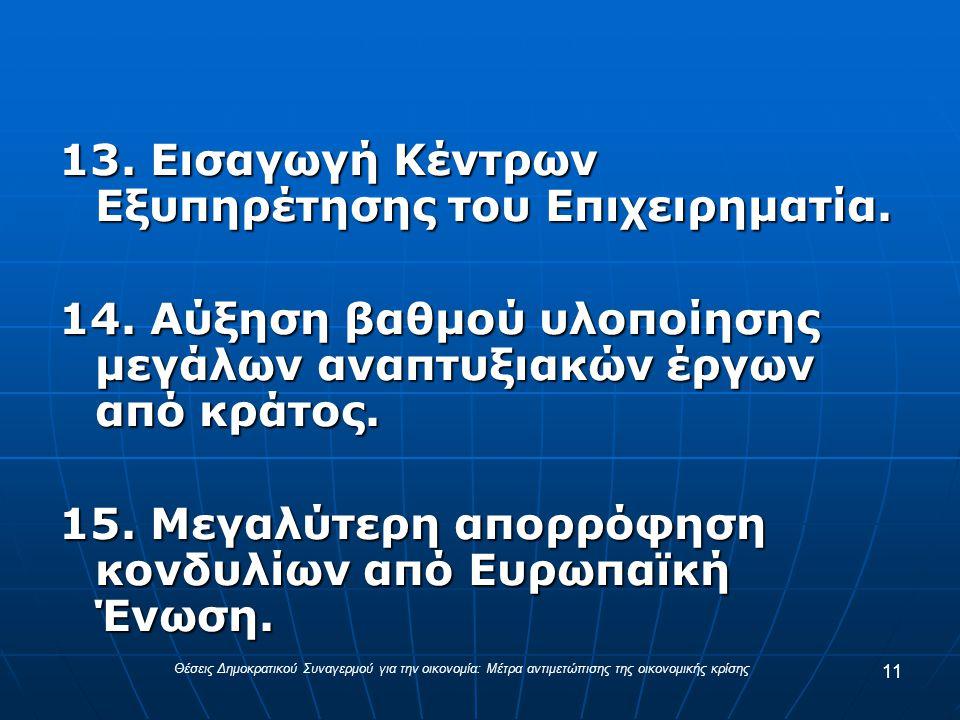 13. Εισαγωγή Κέντρων Εξυπηρέτησης του Επιχειρηματία.