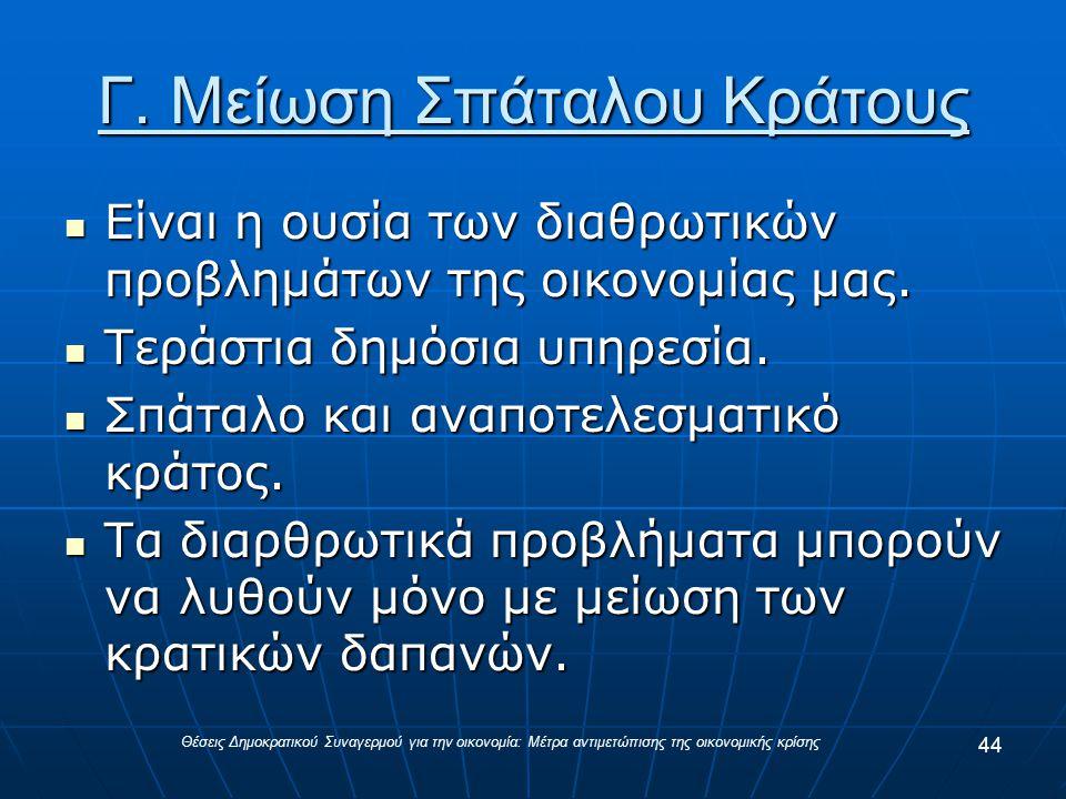 Γ. Μείωση Σπάταλου Κράτους Είναι η ουσία των διαθρωτικών προβλημάτων της οικονομίας μας.
