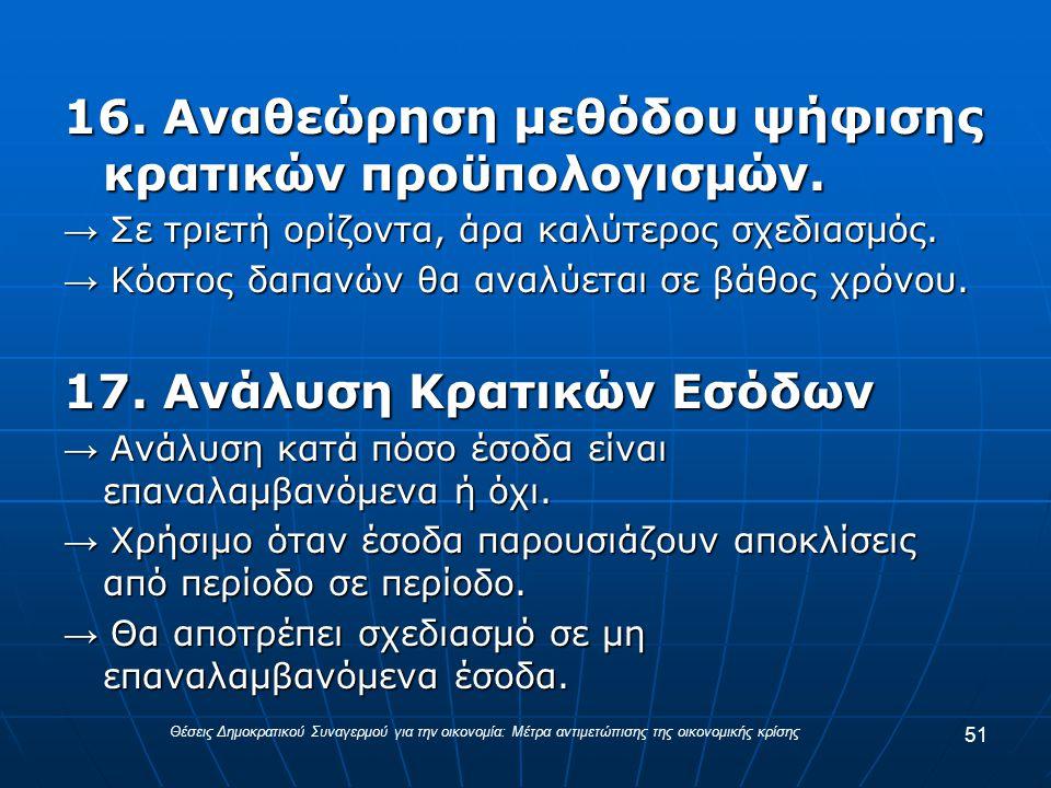 16. Αναθεώρηση μεθόδου ψήφισης κρατικών προϋπολογισμών.