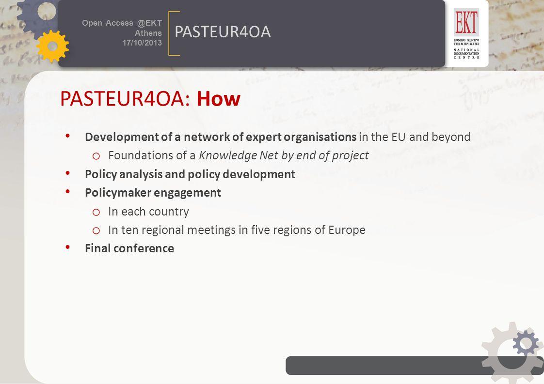 τίτλος εκδήλωσης 24 / 07 /2013 Πρόσβαση στη Γνώση Open Access @EKT Athens 17/10/2013 PASTEUR4OA