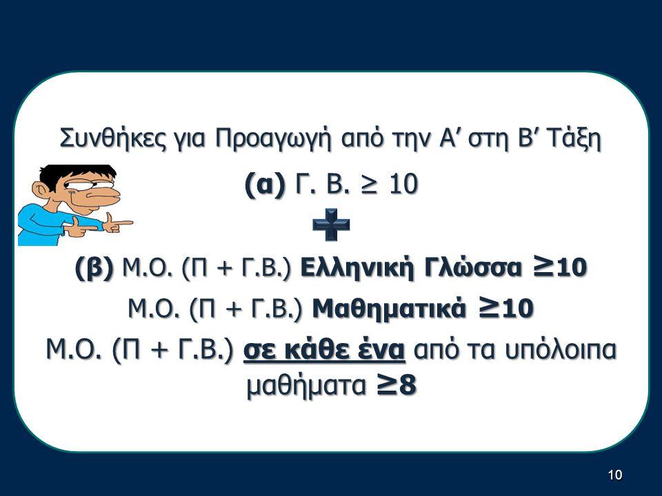 10 Συνθήκες για Προαγωγή από την Α' στη Β' Τάξη (α) Γ.