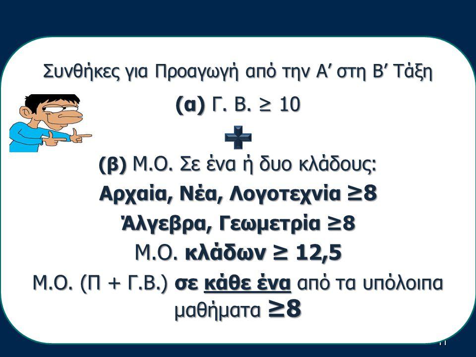 11 Συνθήκες για Προαγωγή από την Α' στη Β' Τάξη (α) Γ.