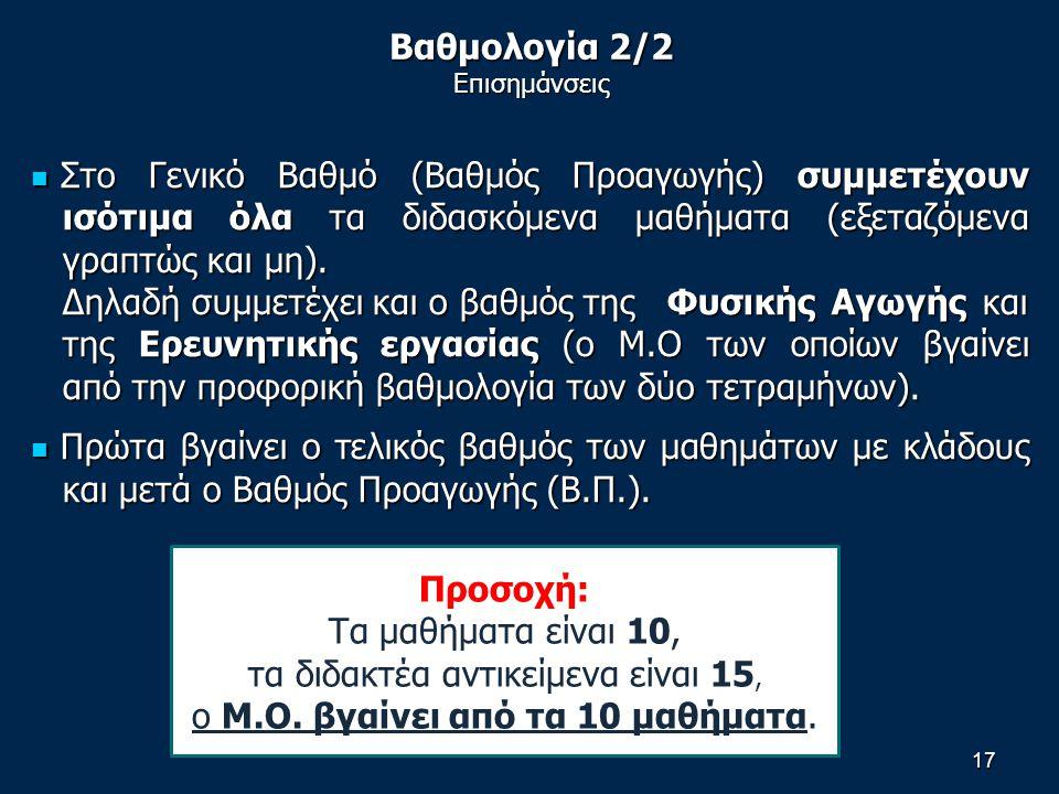 Βαθμολογία 2/2 Επισημάνσεις Στο Γενικό Βαθμό (Βαθμός Προαγωγής) συμμετέχουν ισότιμα όλα τα διδασκόμενα μαθήματα (εξεταζόμενα γραπτώς και μη).