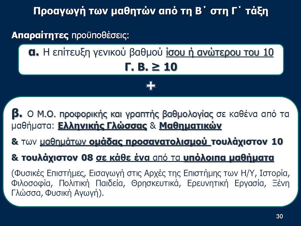 Προαγωγή των μαθητών από τη Β΄ στη Γ΄ τάξη Απαραίτητες προϋποθέσεις: 30 α.