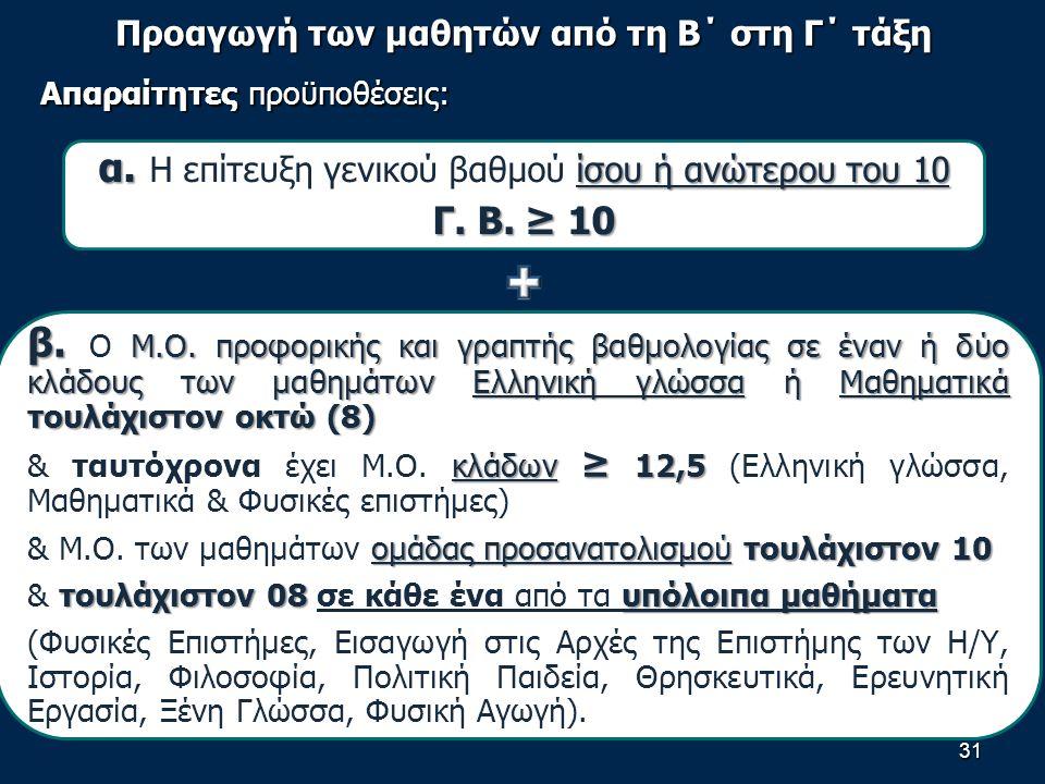 Προαγωγή των μαθητών από τη Β΄ στη Γ΄ τάξη Απαραίτητες προϋποθέσεις: 31 α.