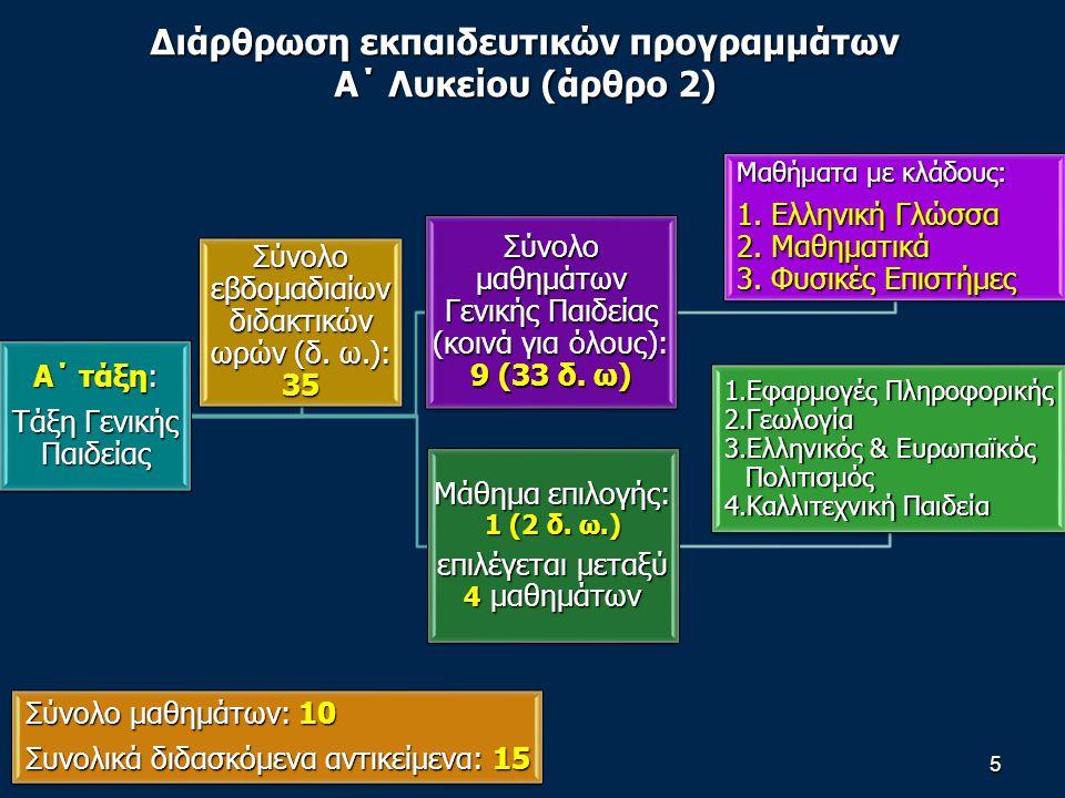 5 Α΄ τάξη: Τάξη Γενικής Παιδείας Σύνολο μαθημάτων Γενικής Παιδείας (κοινά για όλους): 9 (33 δ.