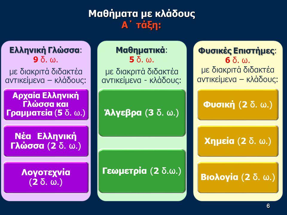 6 Ελληνική Γλώσσα Ελληνική Γλώσσα: 9 δ.ω.