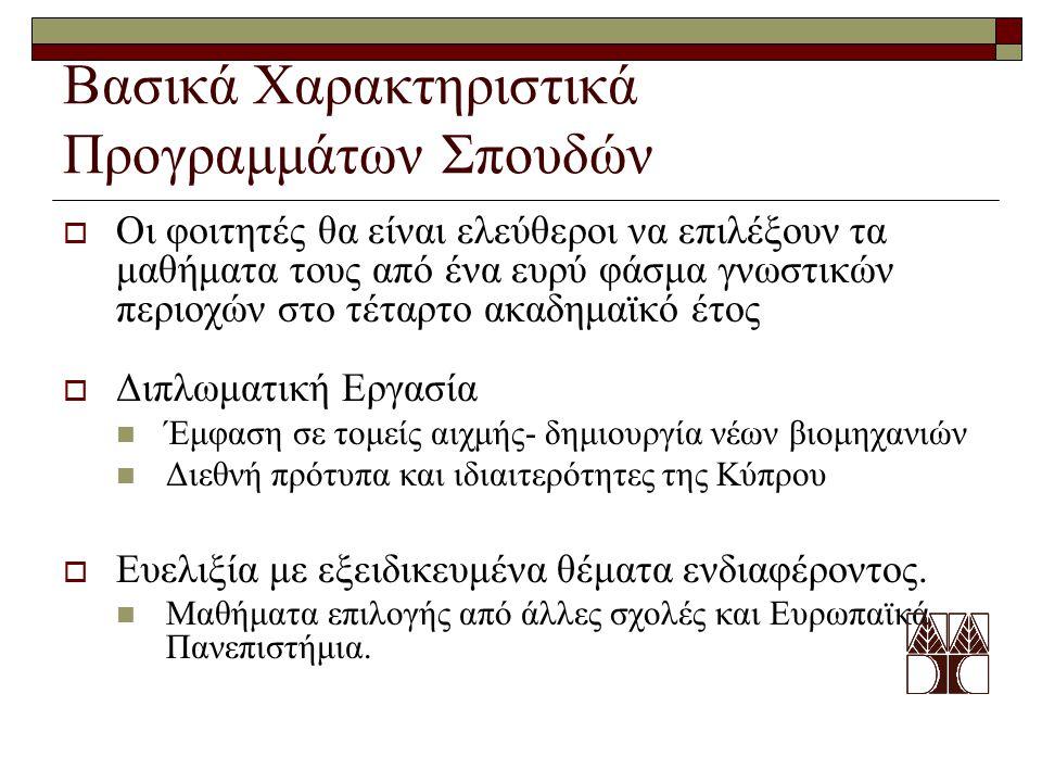Βασικά Χαρακτηριστικά Προγραμμάτων Σπουδών  Οι φοιτητές θα είναι ελεύθεροι να επιλέξουν τα μαθήματα τους από ένα ευρύ φάσμα γνωστικών περιοχών στο τέταρτο ακαδημαϊκό έτος  Διπλωματική Εργασία Έμφαση σε τομείς αιχμής- δημιουργία νέων βιομηχανιών Διεθνή πρότυπα και ιδιαιτερότητες της Κύπρου  Ευελιξία με εξειδικευμένα θέματα ενδιαφέροντος.
