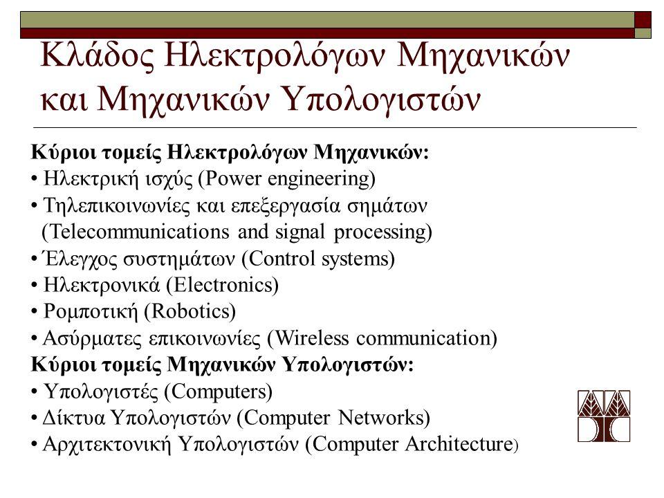 Κλάδος Ηλεκτρολόγων Μηχανικών και Μηχανικών Υπολογιστών Κύριοι τομείς Ηλεκτρολόγων Μηχανικών: Ηλεκτρική ισχύς (Power engineering) Τηλεπικοινωνίες και επεξεργασία σημάτων (Telecommunications and signal processing) Έλεγχος συστημάτων (Control systems) Ηλεκτρονικά (Electronics) Ρομποτική (Robotics) Ασύρματες επικοινωνίες (Wireless communication) Κύριοι τομείς Μηχανικών Υπολογιστών: Υπολογιστές (Computers) Δίκτυα Υπολογιστών (Computer Networks) Αρχιτεκτονική Υπολογιστών (Computer Architecture )