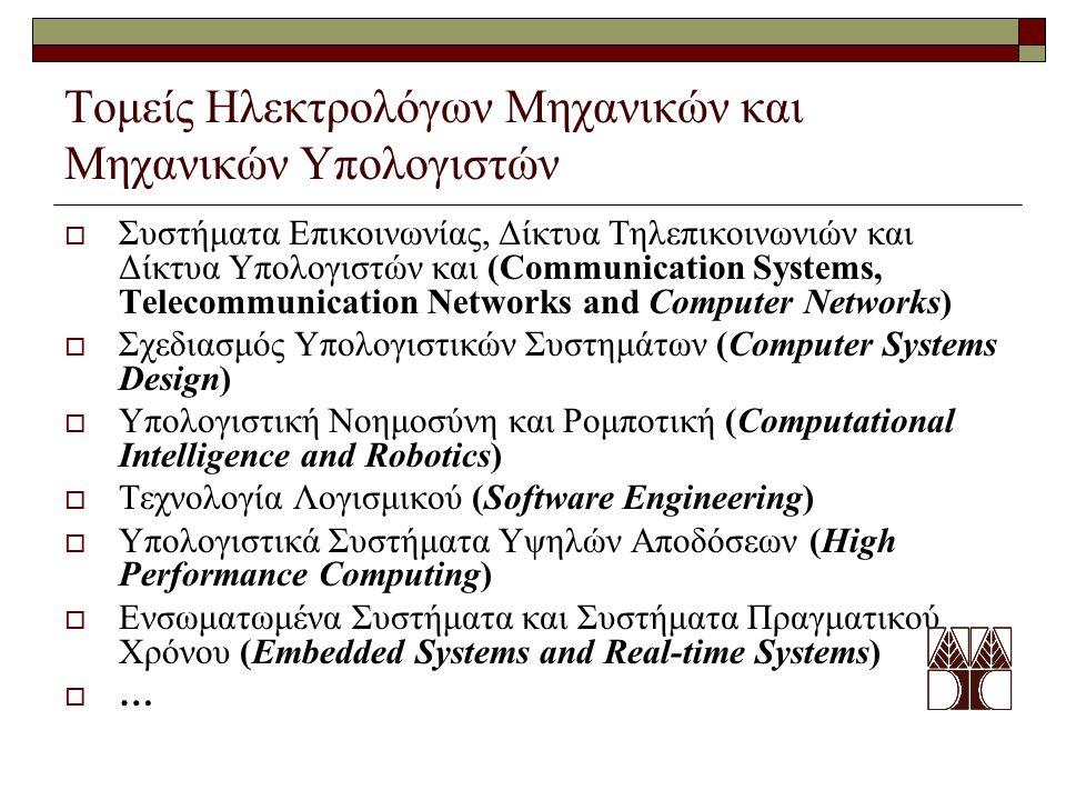 Τομείς Ηλεκτρολόγων Μηχανικών και Μηχανικών Υπολογιστών  Συστήματα Επικοινωνίας, Δίκτυα Τηλεπικοινωνιών και Δίκτυα Υπολογιστών και (Communication Systems, Telecommunication Networks and Computer Networks)  Σχεδιασμός Υπολογιστικών Συστημάτων (Computer Systems Design)  Υπολογιστική Νοημοσύνη και Ρομποτική (Computational Intelligence and Robotics)  Τεχνολογία Λογισμικού (Software Engineering)  Υπολογιστικά Συστήματα Υψηλών Αποδόσεων (High Performance Computing)  Ενσωματωμένα Συστήματα και Συστήματα Πραγματικού Χρόνου (Embedded Systems and Real-time Systems)  …