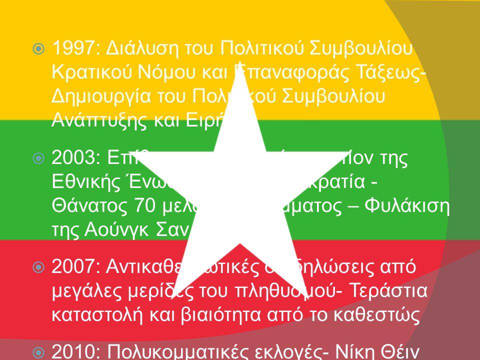  1997: Διάλυση του Πολιτικού Συμβουλίου Κρατικού Νόμου και Επαναφοράς Τάξεως- Δημιουργία του Πολιτικού Συμβουλίου Ανάπτυξης και Ειρήνης  2003: Επίθεση στο Ντεπαίν εναντίον της Εθνικής Ένωσης για τη Δημοκρατία - Θάνατος 70 μελών του κόμματος – Φυλάκιση της Αούνγκ Σαν Σου Κι  2007: Αντικαθεστωτικές διαδηλώσεις από μεγάλες μερίδες του πληθυσμού- Τεράστια καταστολή και βιαιότητα από το καθεστώς  2010: Πολυκομματικές εκλογές- Νίκη Θέιν Σέιν