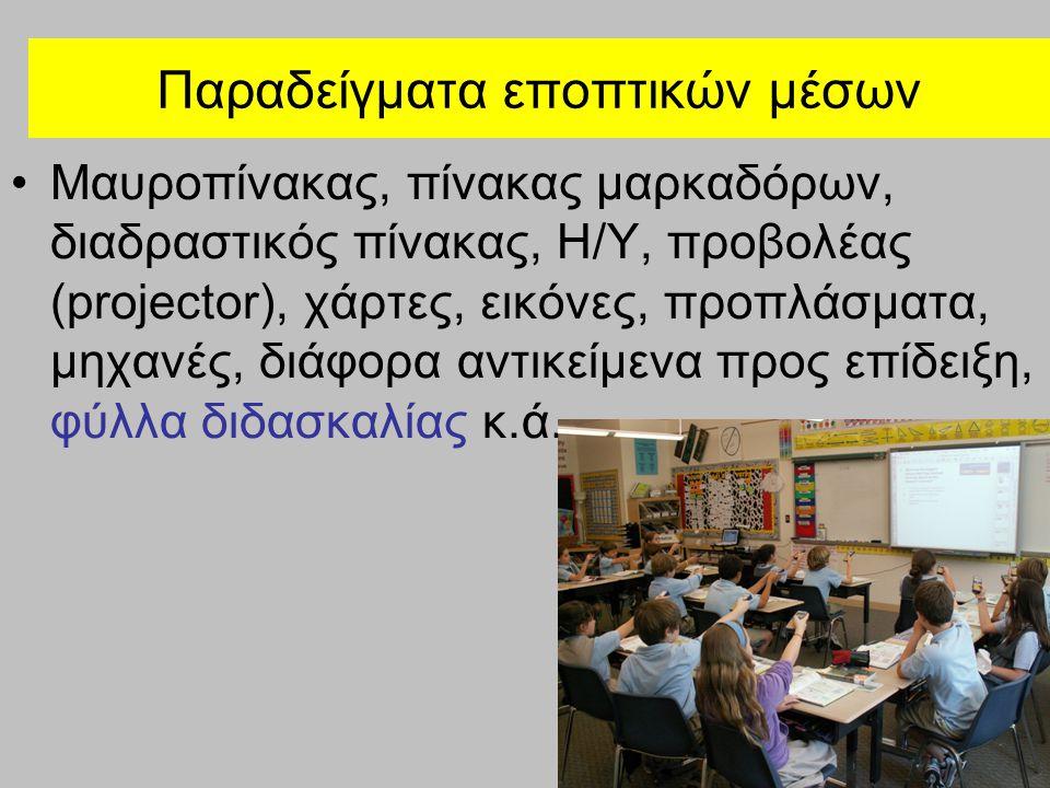 Παραδείγματα εποπτικών μέσων Μαυροπίνακας, πίνακας μαρκαδόρων, διαδραστικός πίνακας, Η/Y, προβολέας (projector), χάρτες, εικόνες, προπλάσματα, μηχανές, διάφορα αντικείμενα προς επίδειξη, φύλλα διδασκαλίας κ.ά.