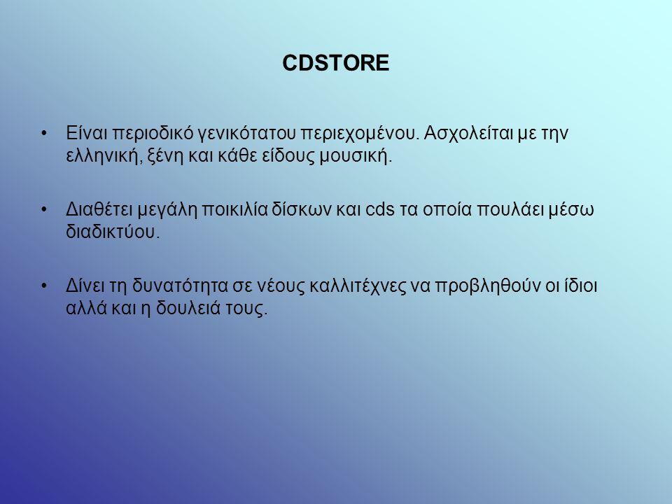 CDSTORE Είναι περιοδικό γενικότατου περιεχομένου.