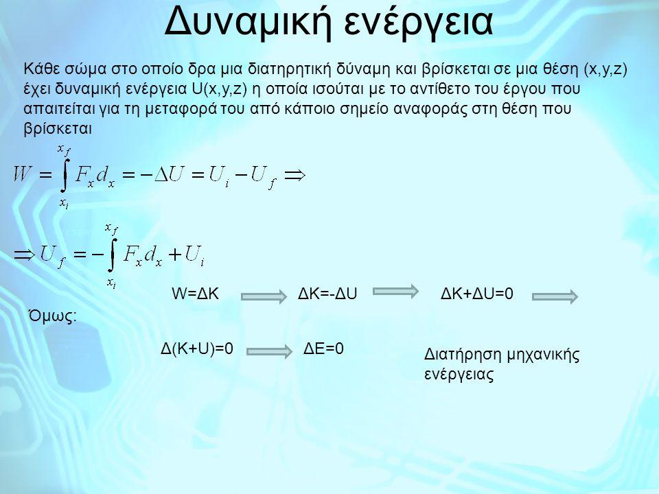 Δυναμική ενέργεια Κάθε σώμα στο οποίο δρα μια διατηρητική δύναμη και βρίσκεται σε μια θέση (x,y,z) έχει δυναμική ενέργεια U(x,y,z) η οποία ισούται με