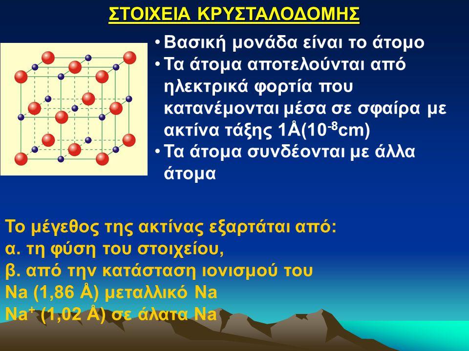 Το μέγεθος της ακτίνας εξαρτάται από: α. τη φύση του στοιχείου, β. από την κατάσταση ιονισμού του Na (1,86 Å) μεταλλικό Na Na + (1,02 Å) σε άλατα Na Σ