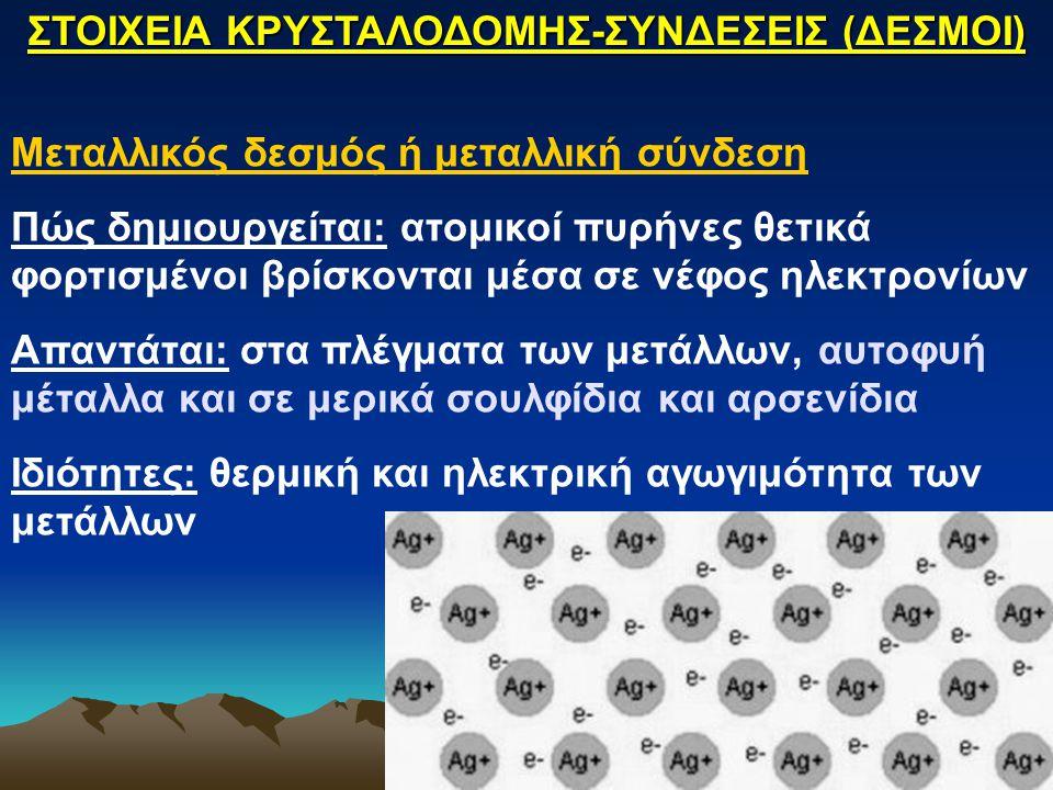 Μεταλλικός δεσμός ή μεταλλική σύνδεση Πώς δημιουργείται: ατομικοί πυρήνες θετικά φορτισμένοι βρίσκονται μέσα σε νέφος ηλεκτρονίων Απαντάται: στα πλέγμ