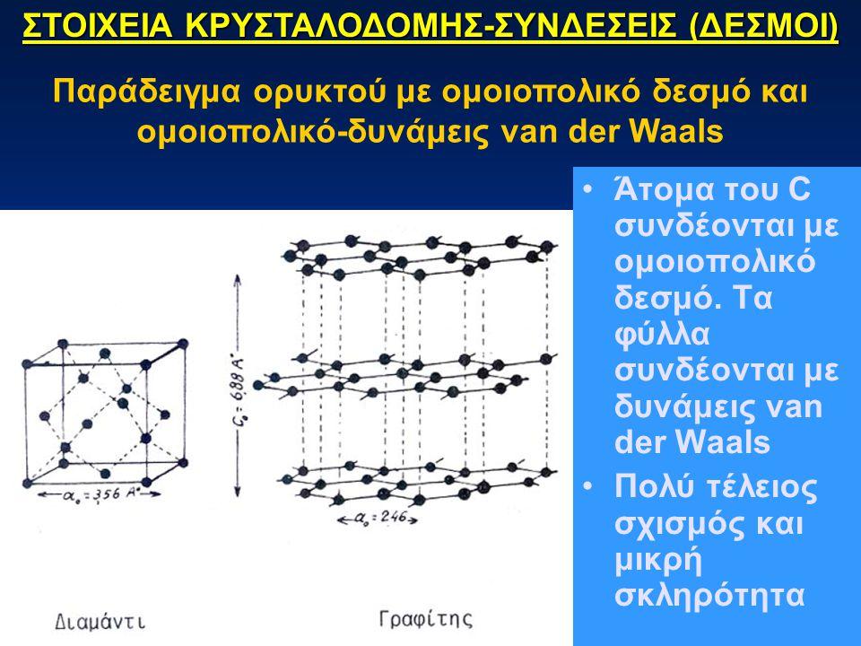 Άτομα του C συνδέονται με ομοιοπολικό δεσμό. Τα φύλλα συνδέονται με δυνάμεις van der Waals Πολύ τέλειος σχισμός και μικρή σκληρότητα ΣΤΟΙΧΕΙΑ ΚΡΥΣΤΑΛΟ