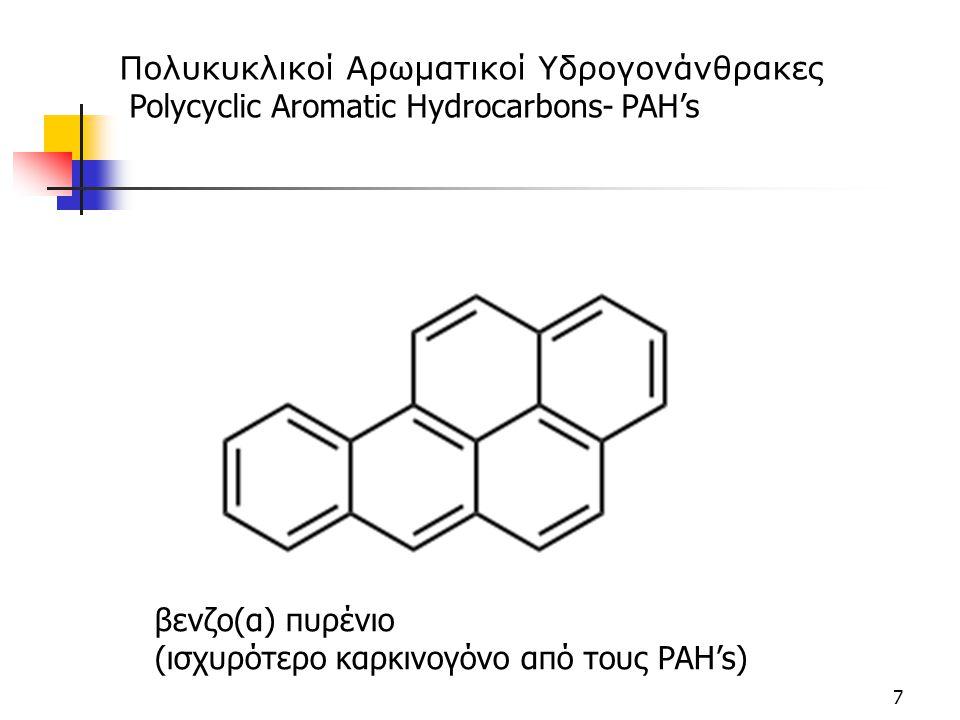 7 βενζο(α) πυρένιο (ισχυρότερο καρκινογόνο από τους PAH's) Πολυκυκλικοί Αρωματικοί Υδρογονάνθρακες Polycyclic Aromatic Hydrocarbons- PAH's