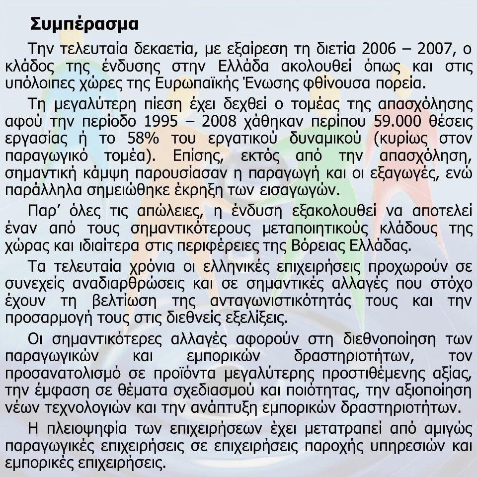 Συμπέρασμα Την τελευταία δεκαετία, με εξαίρεση τη διετία 2006 – 2007, ο κλάδος της ένδυσης στην Ελλάδα ακολουθεί όπως και στις υπόλοιπες χώρες της Ευρ