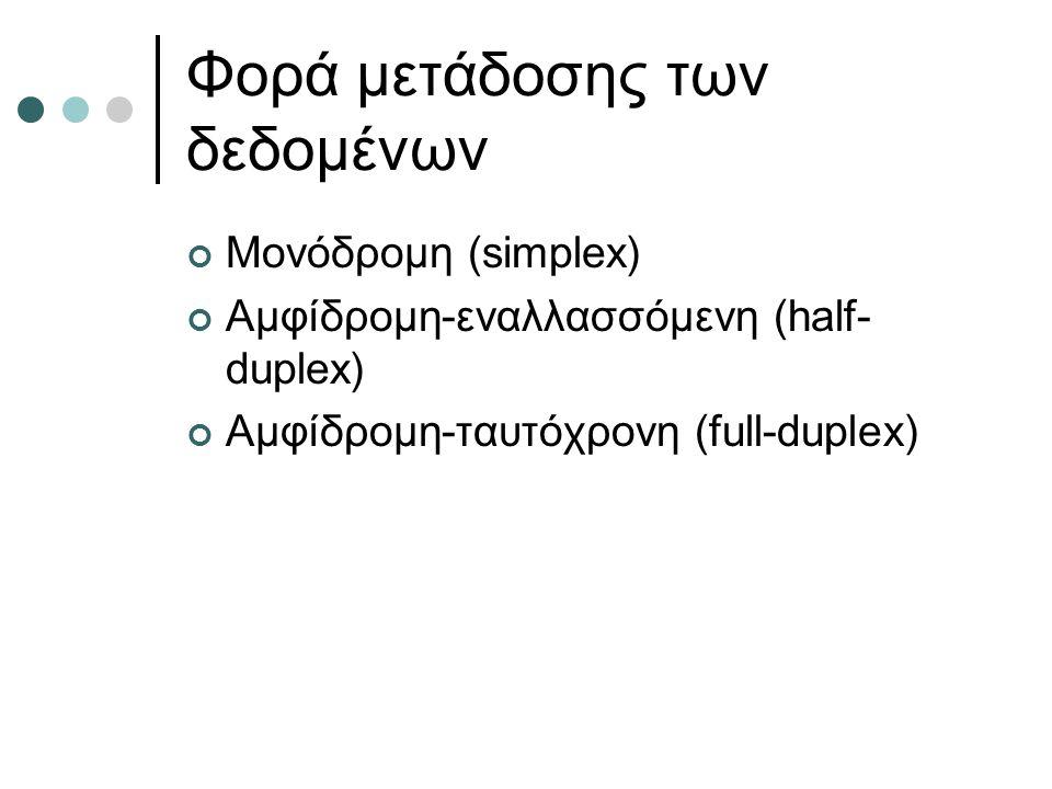 Φορά μετάδοσης των δεδομένων Μονόδρομη (simplex) Αμφίδρομη-εναλλασσόμενη (half- duplex) Αμφίδρομη-ταυτόχρονη (full-duplex)