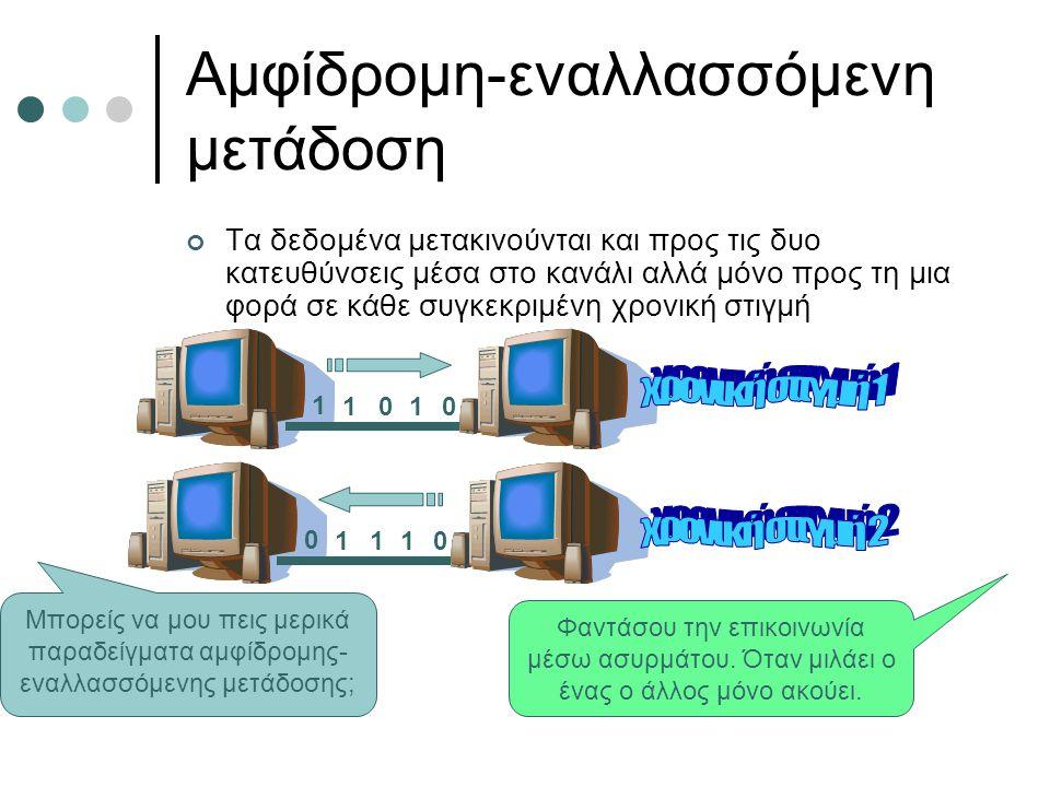 Αμφίδρομη-εναλλασσόμενη μετάδοση Τα δεδομένα μετακινούνται και προς τις δυο κατευθύνσεις μέσα στο κανάλι αλλά μόνο προς τη μια φορά σε κάθε συγκεκριμέ