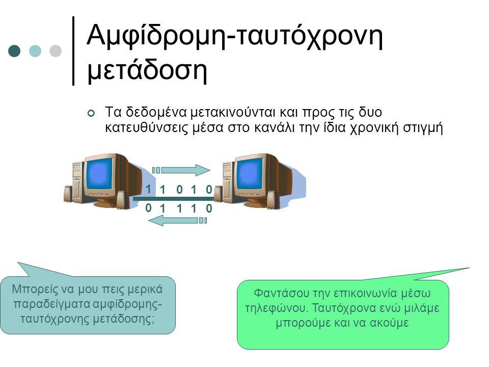 Αμφίδρομη-ταυτόχρονη μετάδοση Τα δεδομένα μετακινούνται και προς τις δυο κατευθύνσεις μέσα στο κανάλι την ίδια χρονική στιγμή 1 1010 0 1110 Μπορείς να