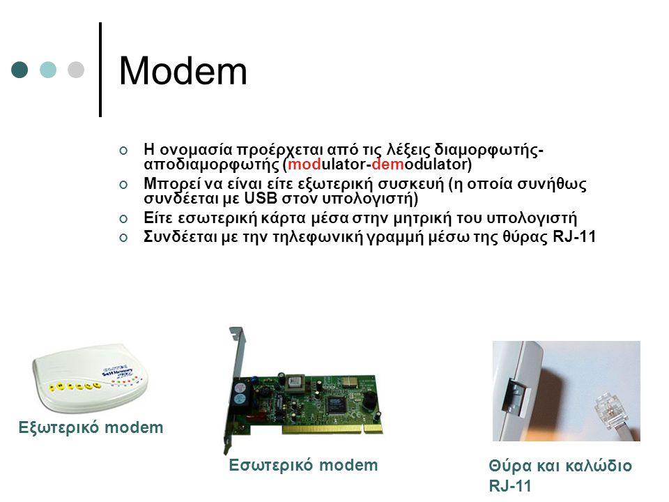 Modem Η ονομασία προέρχεται από τις λέξεις διαμορφωτής- αποδιαμορφωτής (modulator-demodulator) Μπορεί να είναι είτε εξωτερική συσκευή (η οποία συνήθως