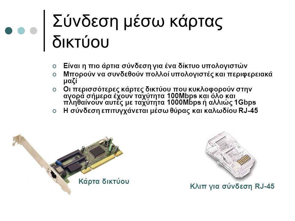 Σύνδεση μέσω κάρτας δικτύου Είναι η πιο άρτια σύνδεση για ένα δίκτυο υπολογιστών Μπορούν να συνδεθούν πολλοί υπολογιστές και περιφερειακά μαζί Οι περι