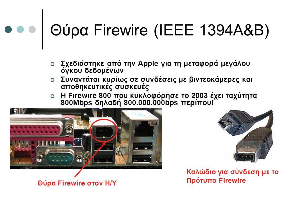 Θύρα Firewire (IEEE 1394A&B) Σχεδιάστηκε από την Apple για τη μεταφορά μεγάλου όγκου δεδομένων Συναντάται κυρίως σε συνδέσεις με βιντεοκάμερες και απο