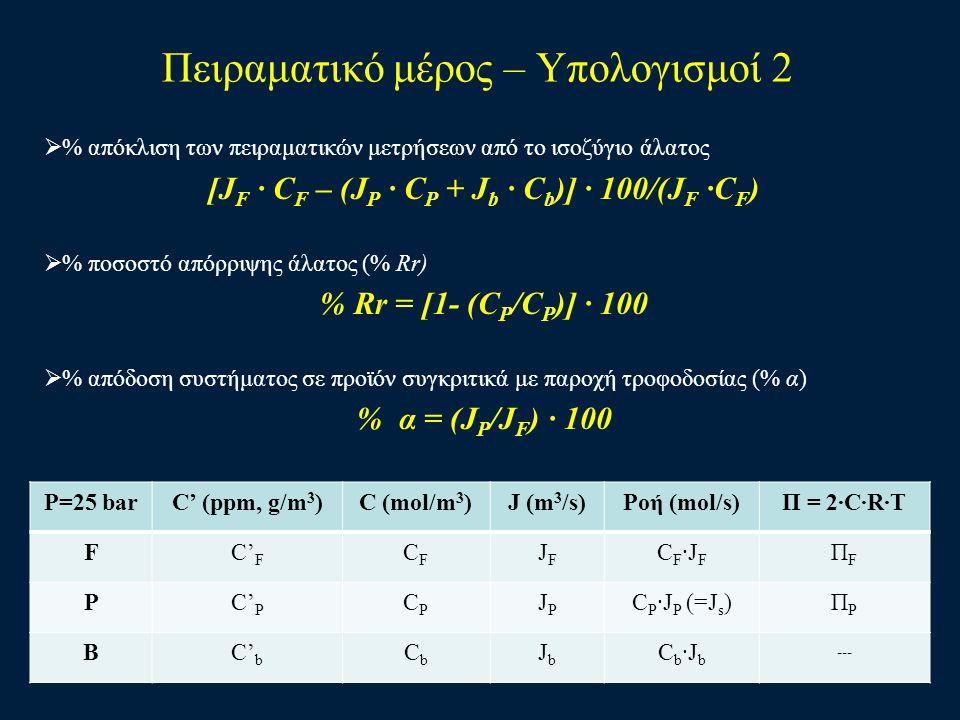 Πειραματικό μέρος – Υπολογισμοί 2  % απόκλιση των πειραματικών μετρήσεων από το ισοζύγιο άλατος [J F · C F – (J P · C P + J b · C b )] · 100/(J F ·C