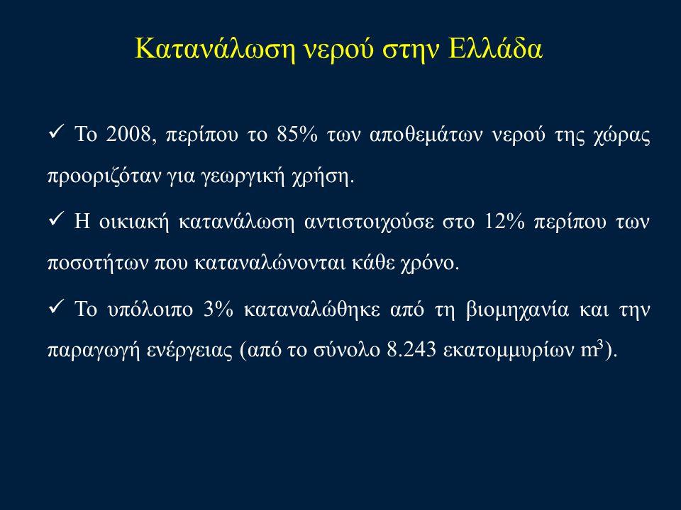 Κατανάλωση νερού στην Ελλάδα Το 2008, περίπου το 85% των αποθεμάτων νερού της χώρας προοριζόταν για γεωργική χρήση. Η οικιακή κατανάλωση αντιστοιχούσε