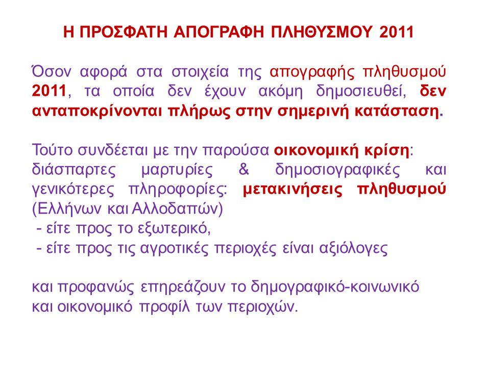 Η ΠΡΟΣΦΑΤΗ ΑΠΟΓΡΑΦΗ ΠΛΗΘΥΣΜΟΥ 2011 Όσον αφορά στα στοιχεία της απογραφής πληθυσμού 2011, τα οποία δεν έχουν ακόμη δημοσιευθεί, δεν ανταποκρίνονται πλήρως στην σημερινή κατάσταση.