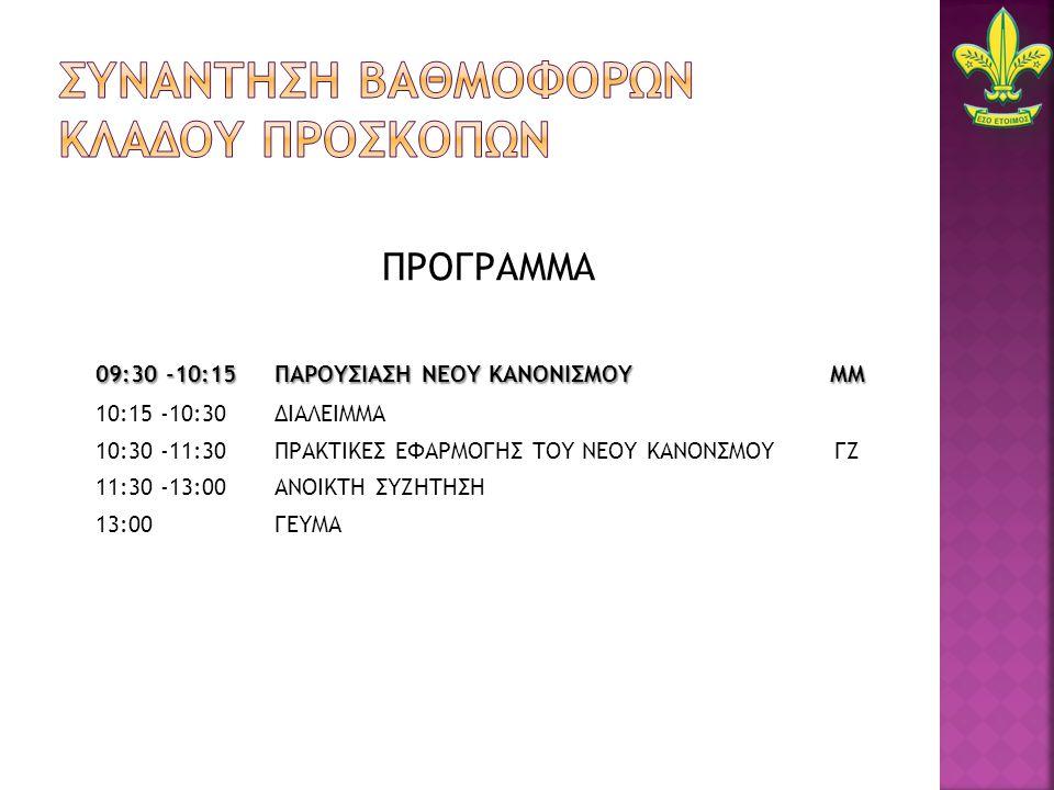 ΠΡΟΓΡΑΜΜΑ 09:30 -10:15 ΠΑΡΟΥΣΙΑΣΗ ΝΕΟΥ ΚΑΝΟΝΙΣΜΟΥ ΜΜ 10:15 -10:30ΔΙΑΛΕΙΜΜΑ 10:30 -11:30ΠΡΑΚΤΙΚΕΣ ΕΦΑΡΜΟΓΗΣ ΤΟΥ ΝΕΟΥ ΚΑΝΟΝΣΜΟΥ ΓΖ 11:30 -13:00 ΑΝΟΙΚΤΗ ΣΥΖΗΤΗΣΗ 13:00 ΓΕΥΜΑ