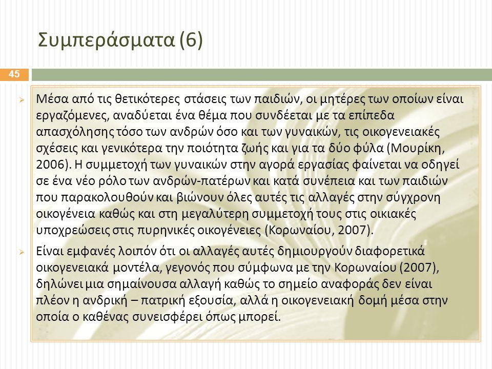 Συμπεράσματα (6)  Μέσα από τις θετικότερες στάσεις των παιδιών, οι μητέρες των οποίων είναι εργαζόμενες, αναδύεται ένα θέμα που συνδέεται με τα επίπεδα απασχόλησης τόσο των ανδρών όσο και των γυναικών, τις οικογενειακές σχέσεις και γενικότερα την ποιότητα ζωής και για τα δύο φύλα ( Μουρίκη, 2006).