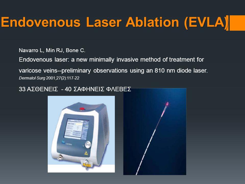 Navarro L, Min RJ, Bone C. Endovenous laser: a new minimally invasive method of treatment for varicose veins--preliminary observations using an 810 nm