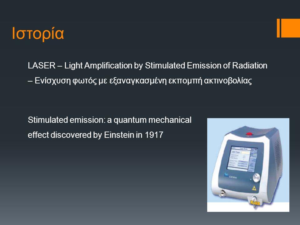 Ιστορία LASER – Light Amplification by Stimulated Emission of Radiation – Ενίσχυση φωτός με εξαναγκασμένη εκπομπή ακτινοβολίας Stimulated emission: a