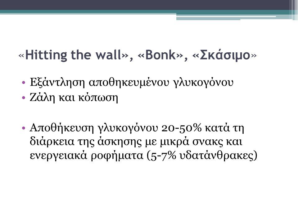 «Hitting the wall», «Bonk», «Σκάσιμο» Εξάντληση αποθηκευμένου γλυκογόνου Ζάλη και κόπωση Αποθήκευση γλυκογόνου 20-50% κατά τη διάρκεια της άσκησης με