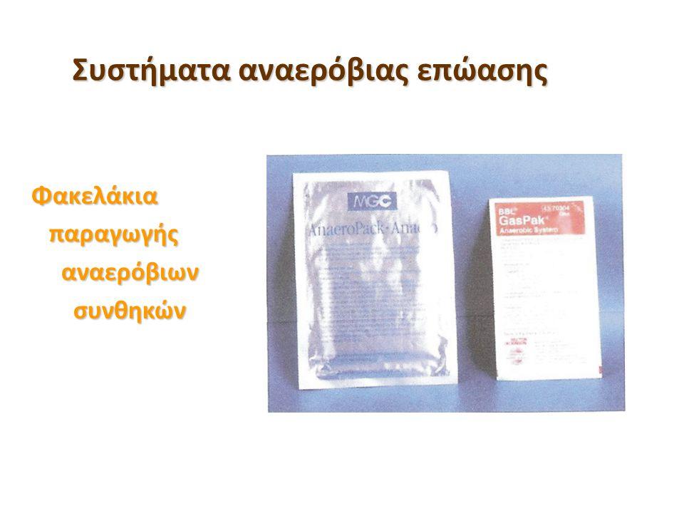Συστήματα αναερόβιας επώασης Φακελάκια παραγωγής παραγωγής αναερόβιων αναερόβιων συνθηκών συνθηκών