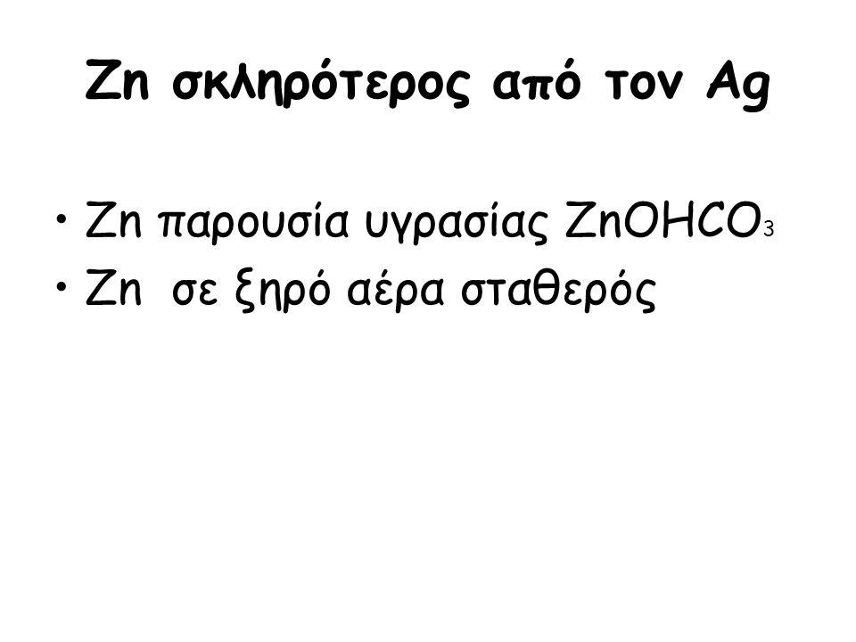 Zn σκληρότερος από τον Ag Zn παρουσία υγρασίας ZnOHCO 3 Zn σε ξηρό αέρα σταθερός