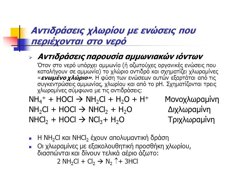 Αντιδράσεις χλωρίου με ενώσεις που περιέχονται στο νερό  Αντιδράσεις παρουσία αμμωνιακών ιόντων Όταν στο νερό υπάρχει αμμωνία (ή αζωτούχες οργανικές