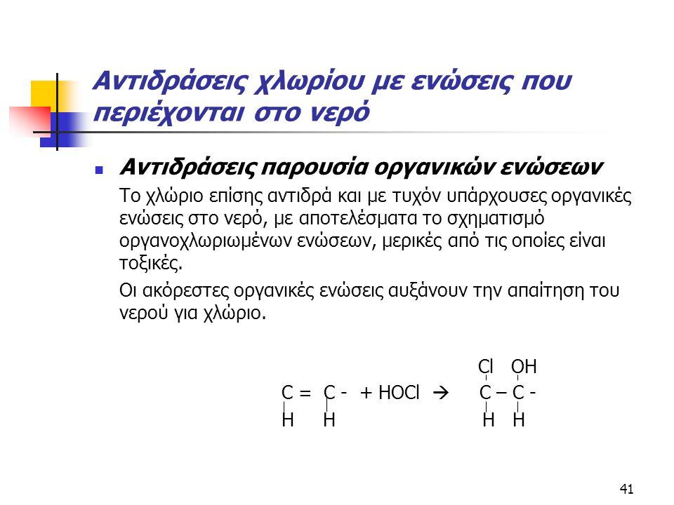Αντιδράσεις χλωρίου με ενώσεις που περιέχονται στο νερό Αντιδράσεις παρουσία οργανικών ενώσεων Το χλώριο επίσης αντιδρά και με τυχόν υπάρχουσες οργανι