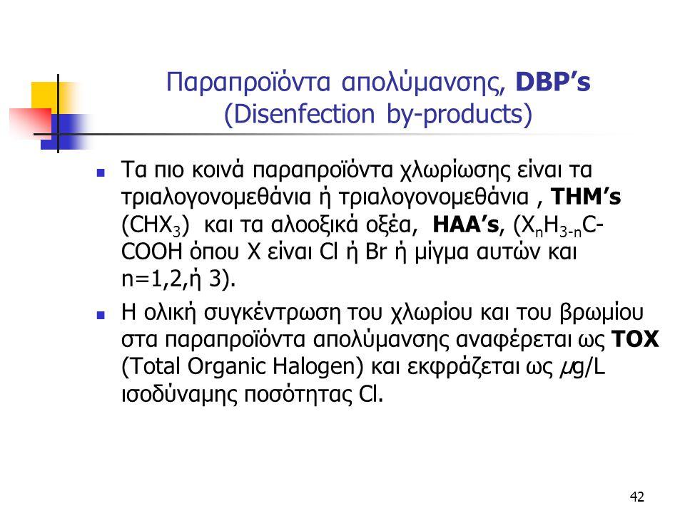 Παραπροϊόντα απολύμανσης, DBP's (Disenfection by-products) Τα πιο κοινά παραπροϊόντα χλωρίωσης είναι τα τριαλογονομεθάνια ή τριαλογονομεθάνια, THM's (