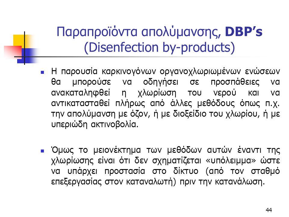 Παραπροϊόντα απολύμανσης, DBP's (Disenfection by-products) Η παρουσία καρκινογόνων οργανοχλωριωμένων ενώσεων θα μπορούσε να οδηγήσει σε προσπάθειες να