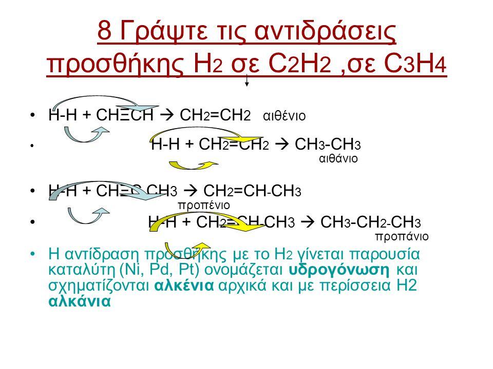 8 Γράψτε τις αντιδράσεις προσθήκης H 2 σε C 2 H 2,σε C 3 H 4 H-H + CHΞCH  CH 2 =CH 2 αιθένιο H-H + CH 2 =CH 2  CH 3 -CH 3 αιθάνιο H-H + CHΞC - CH 3