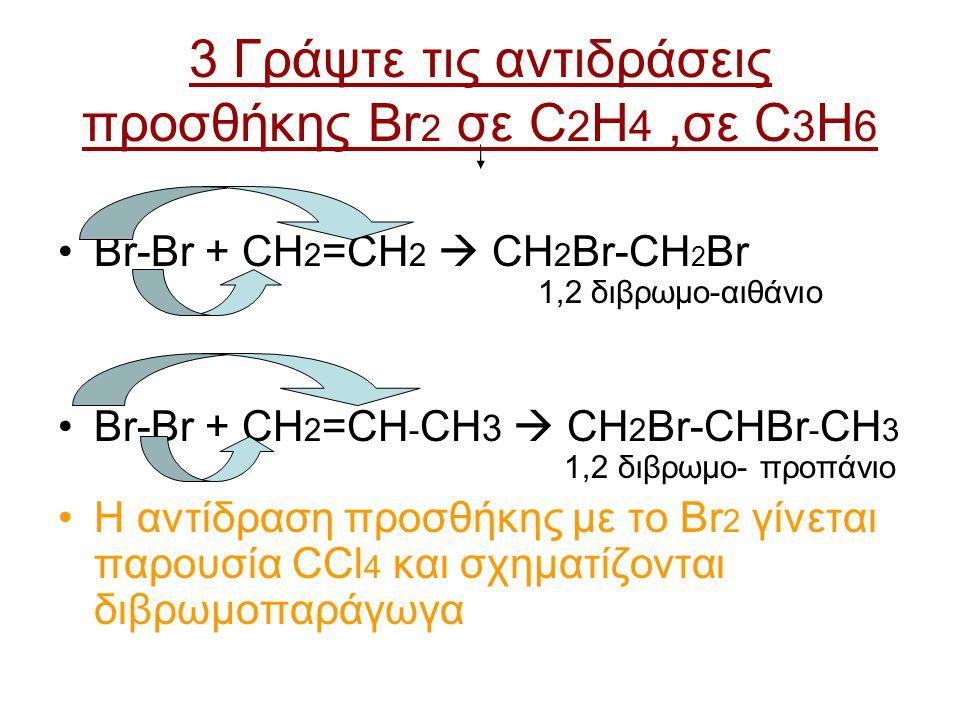 3 Γράψτε τις αντιδράσεις προσθήκης Βr 2 σε C 2 H 4,σε C 3 H 6 Br-Br + CH 2 =CH 2  CH 2 Br-CH 2 Br 1,2 διβρωμο-αιθάνιο Br-Br + CH 2 =CH - CH 3  CH 2