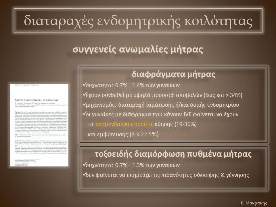 Ε. Μακράκης διαφράγματα μήτρας συχνότητα: 0.7% - 1.4% των γυναικών έχουν συνδεθεί με υψηλά ποσοστά αποβολών (έως και > 34%) μηχανισμός: διαταραχή αιμά