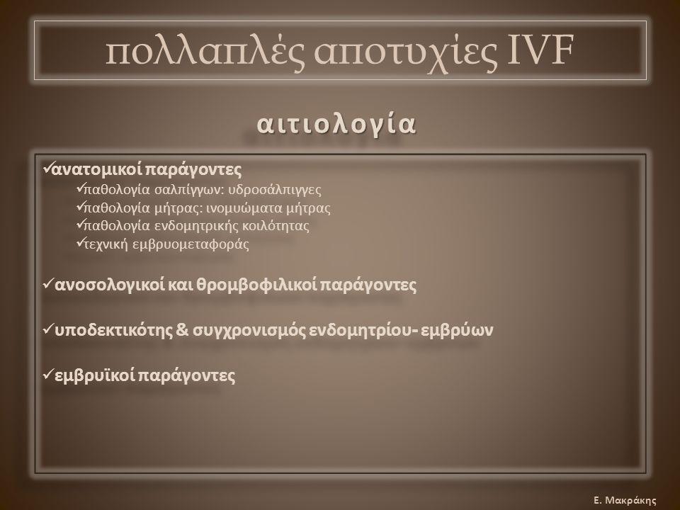 Ε. Μακράκης πολλαπλές αποτυχίες IVF αιτιολογίααιτιολογία ανατομικοί παράγοντες παθολογία σαλπίγγων: υδροσάλπιγγες παθολογία μήτρας: ινομυώματα μήτρας