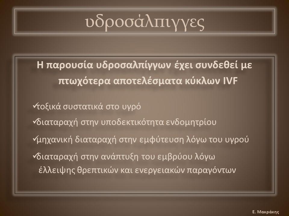Ε.Μακράκης αναδρομική μελέτη: IVF κύκλοι σε γυναίκες με ινομύωμα vs.