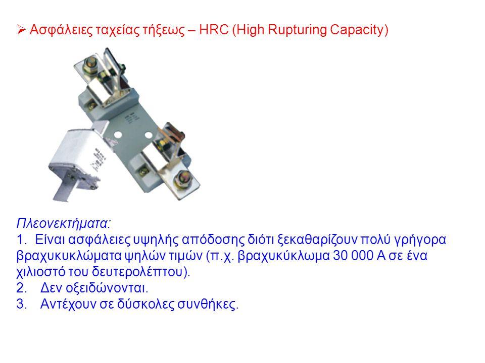  Ασφάλειες ταχείας τήξεως – HRC (High Rupturing Capacity) Πλεονεκτήματα: 1. Είναι ασφάλειες υψηλής απόδοσης διότι ξεκαθαρίζουν πολύ γρήγορα βραχυκυκλ